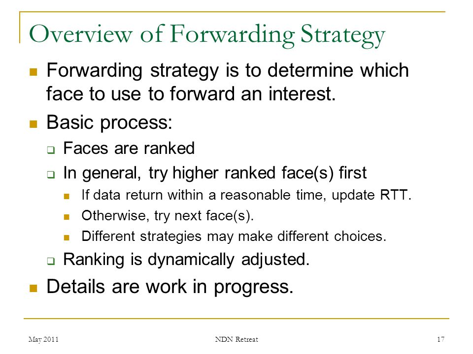 Overview of Forwarding Strategy