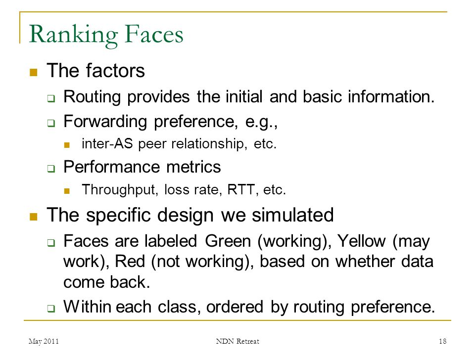 Ranking Faces The factors The specific design we simulated