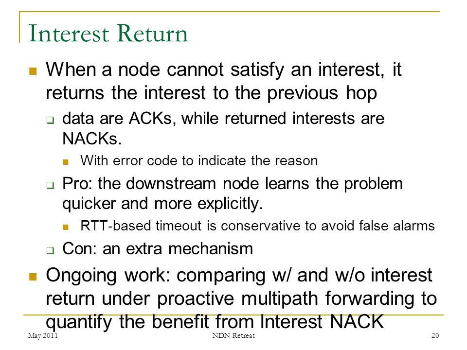 Interest Return When a node cannot satisfy an interest, it returns the interest to the previous hop.