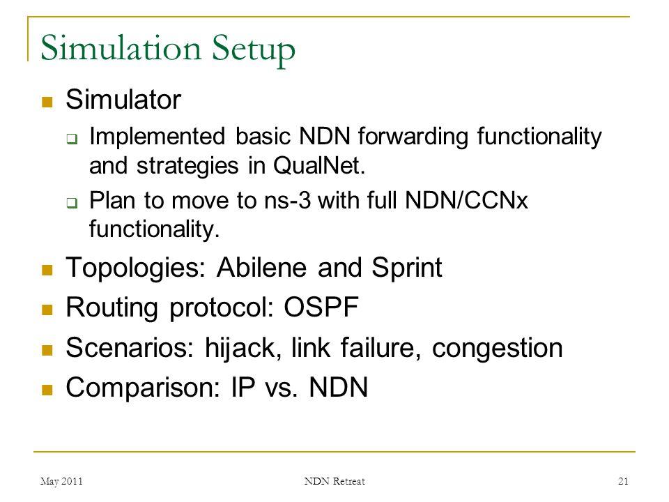 Simulation Setup Simulator Topologies: Abilene and Sprint