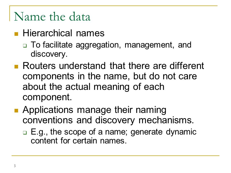 Name the data Hierarchical names