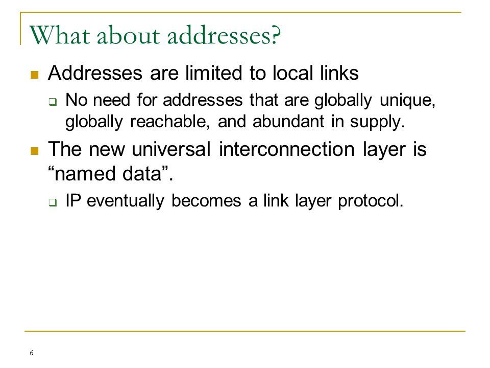 What about addresses Addresses are limited to local links