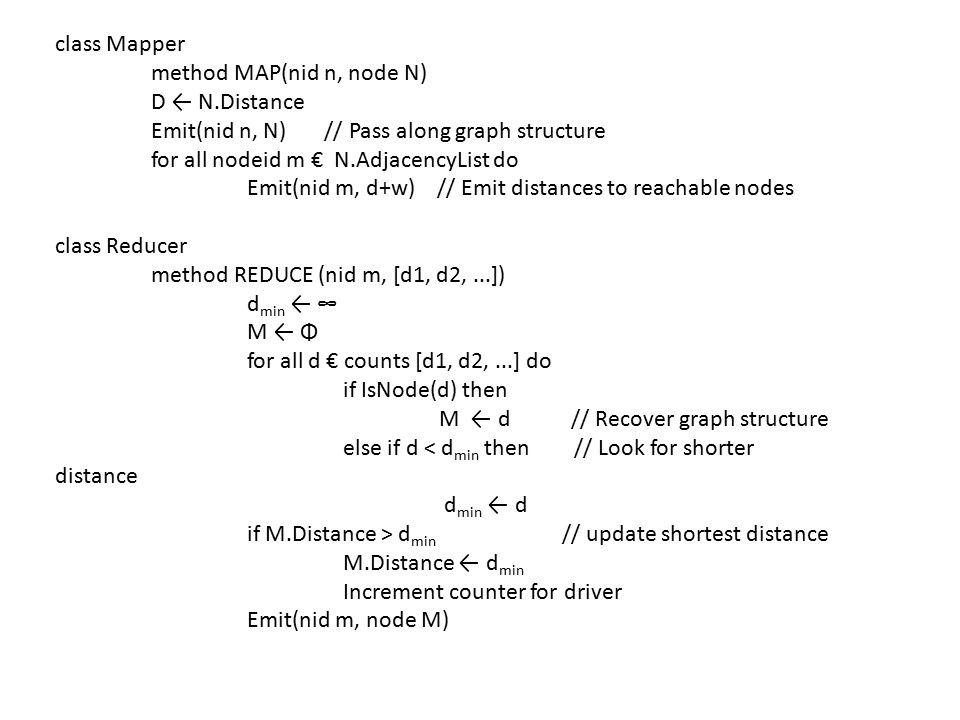 class Mapper method MAP(nid n, node N) D ← N.Distance. Emit(nid n, N) // Pass along graph structure.