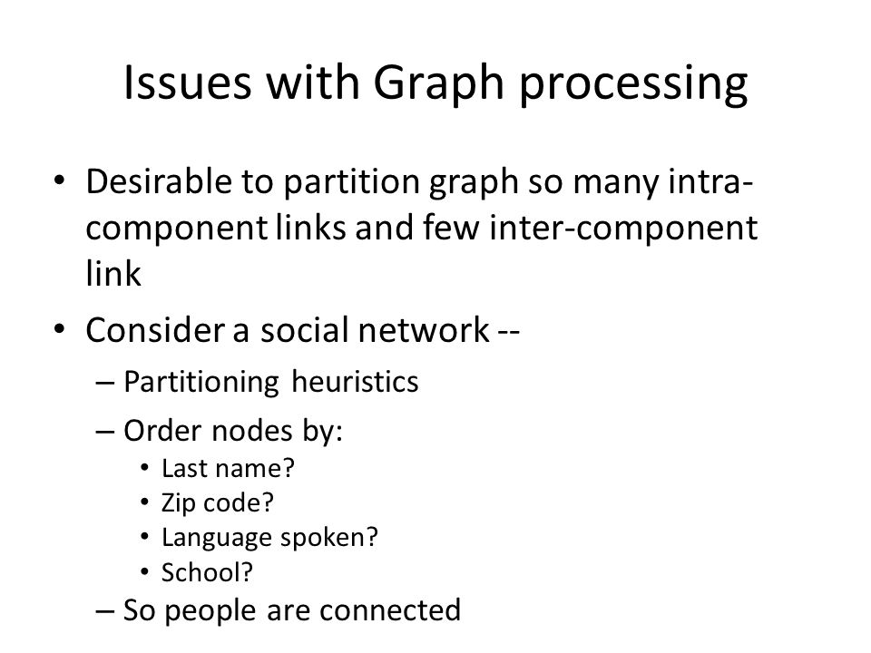 Issues with Graph processing