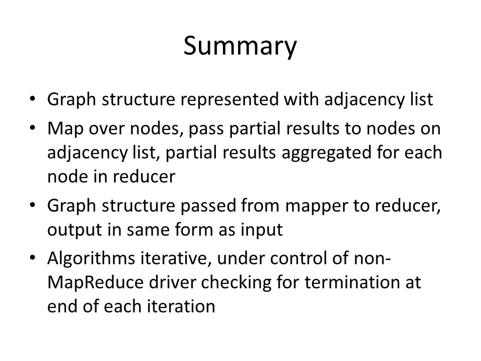 Summary Graph structure represented with adjacency list
