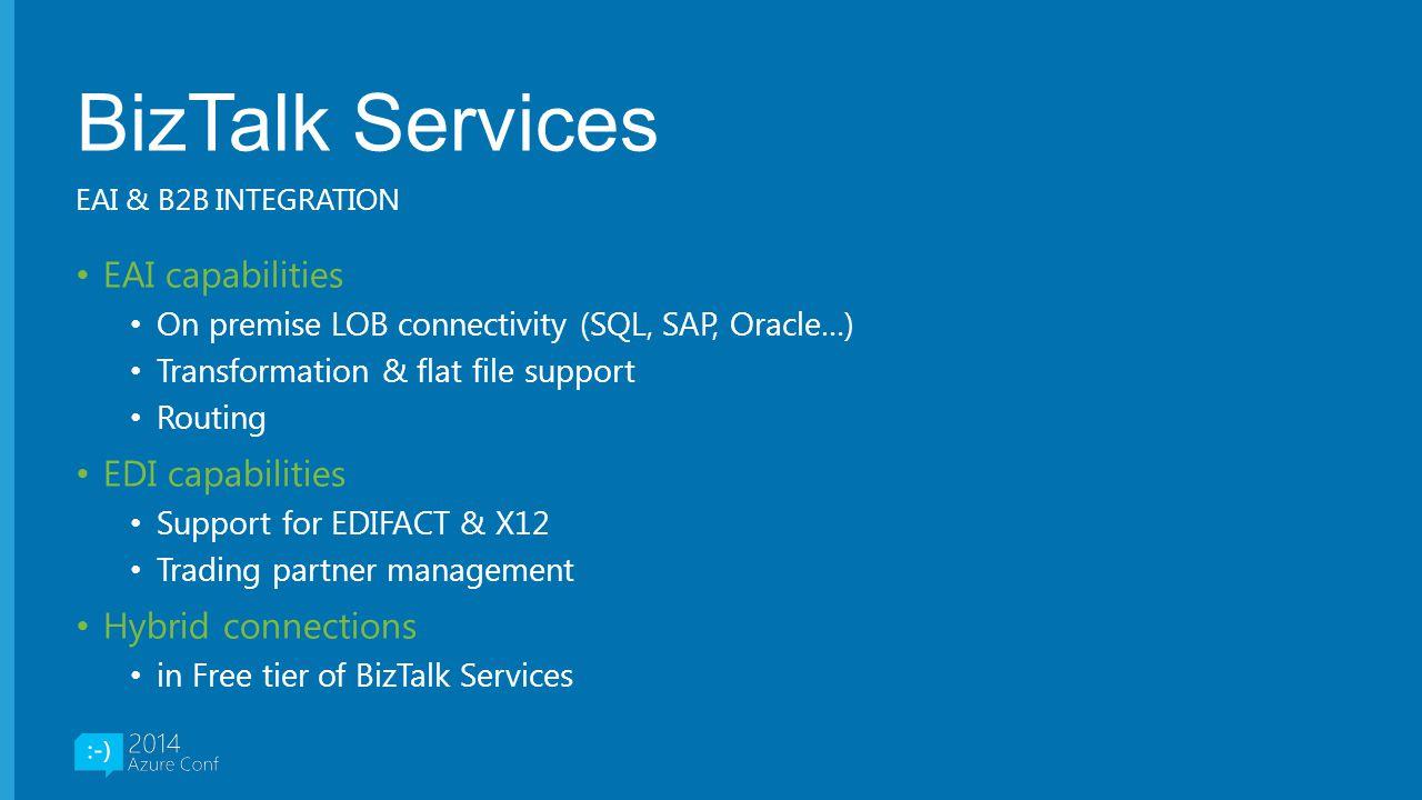 BizTalk Services EAI capabilities EDI capabilities Hybrid connections