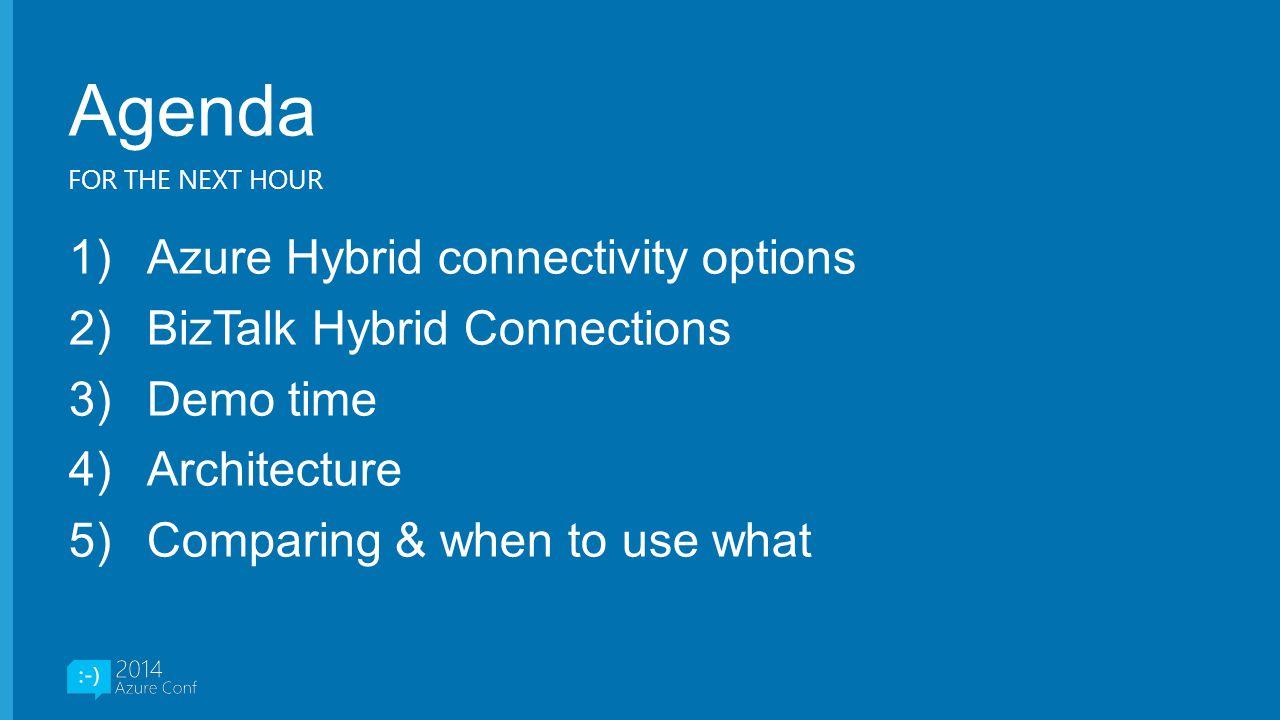 Agenda Azure Hybrid connectivity options BizTalk Hybrid Connections