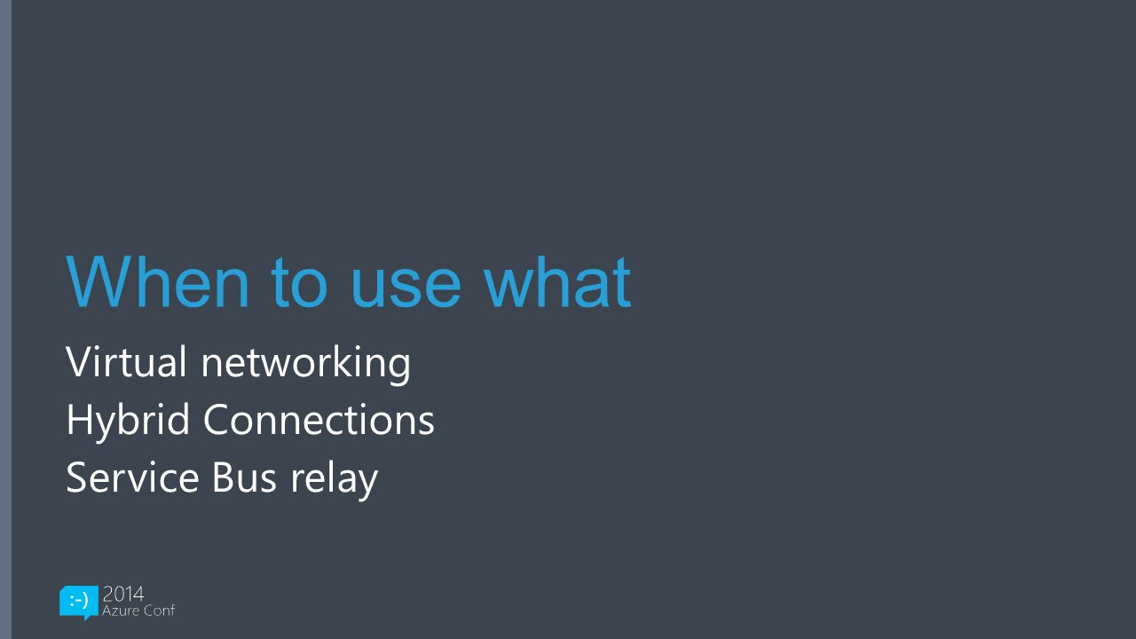 Virtual networking Hybrid Connections Service Bus relay