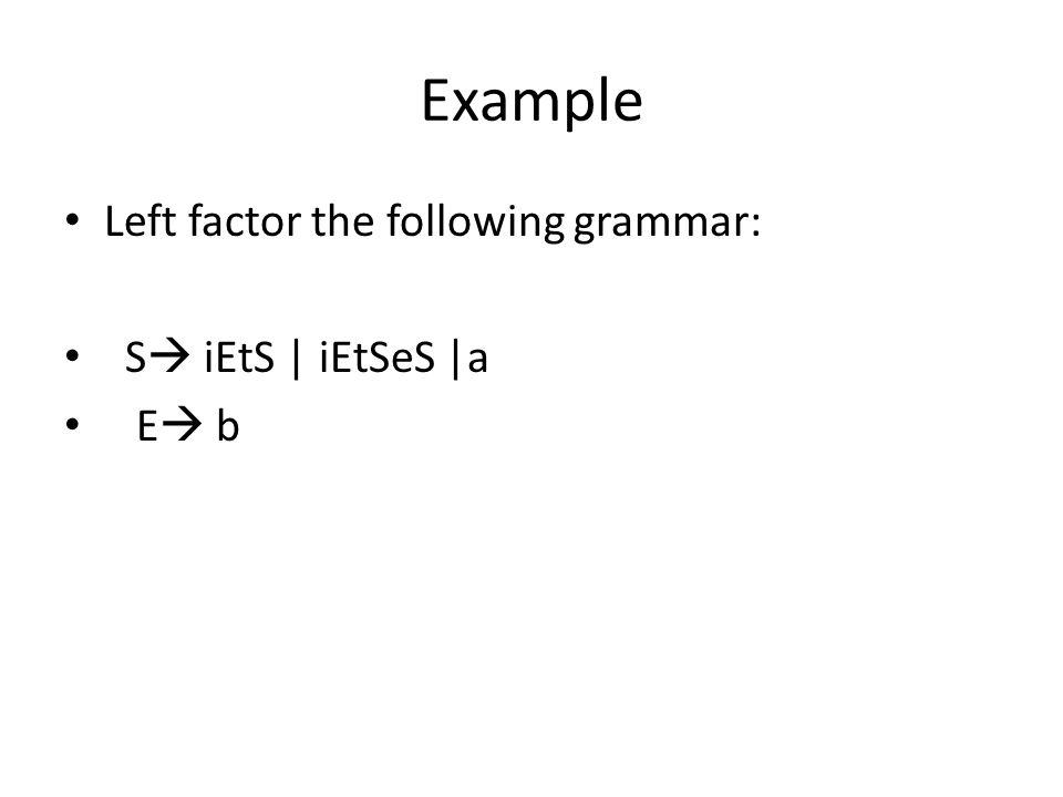 Example Left factor the following grammar: S iEtS | iEtSeS |a E b