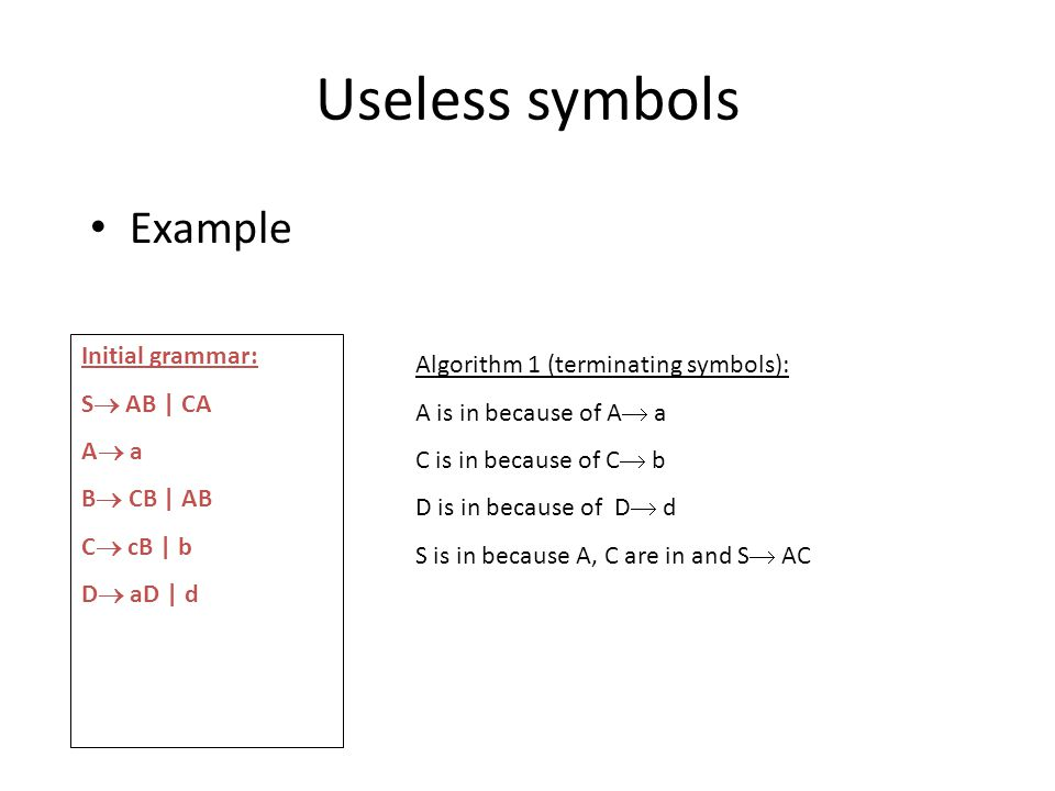 Useless symbols Example Initial grammar: