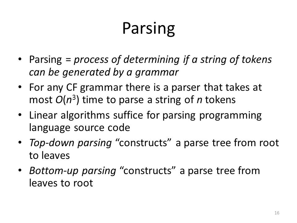 Parsing Parsing = process of determining if a string of tokens can be generated by a grammar.