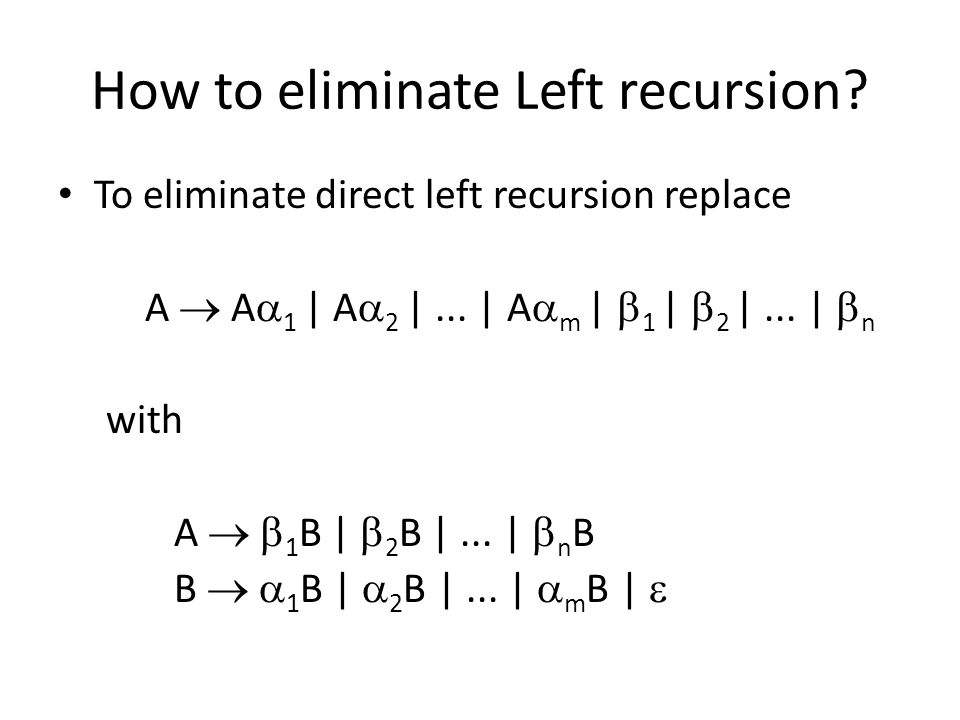 How to eliminate Left recursion