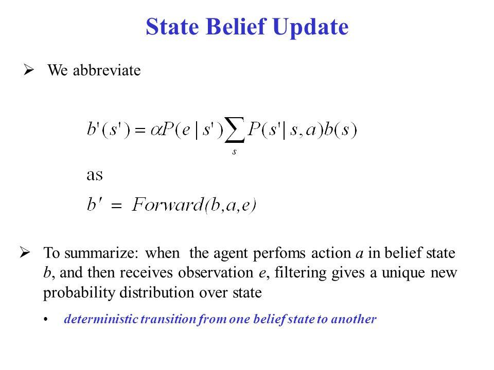 State Belief Update We abbreviate