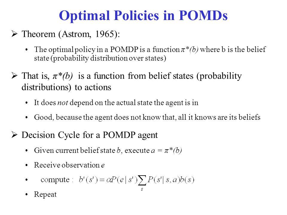 Optimal Policies in POMDs