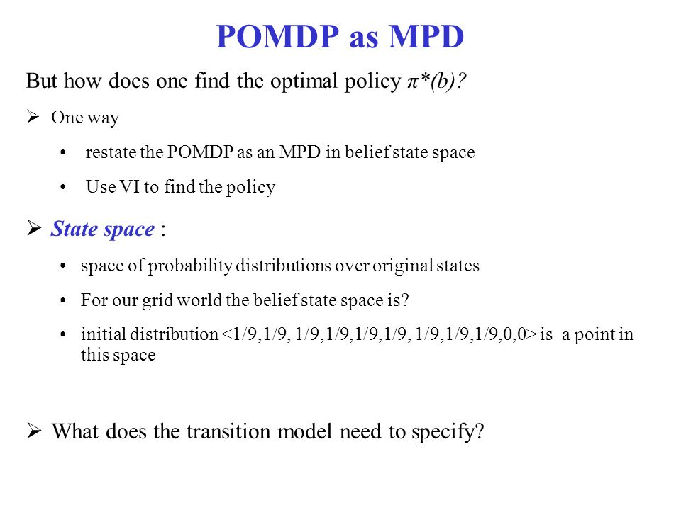 POMDP as MPD But how does one find the optimal policy π*(b)