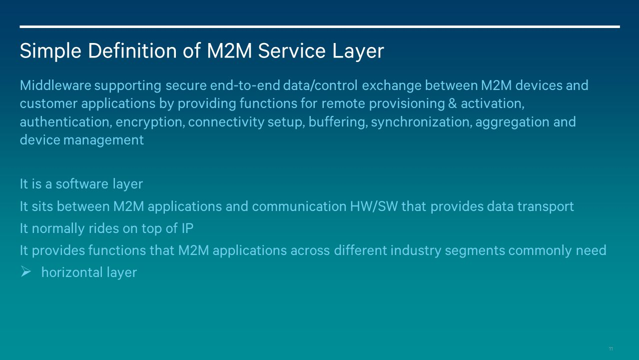 Simple Definition of M2M Service Layer