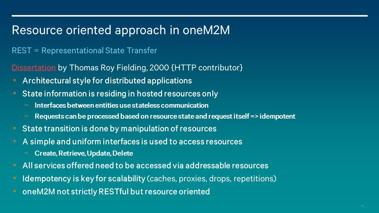 Resource oriented approach in oneM2M