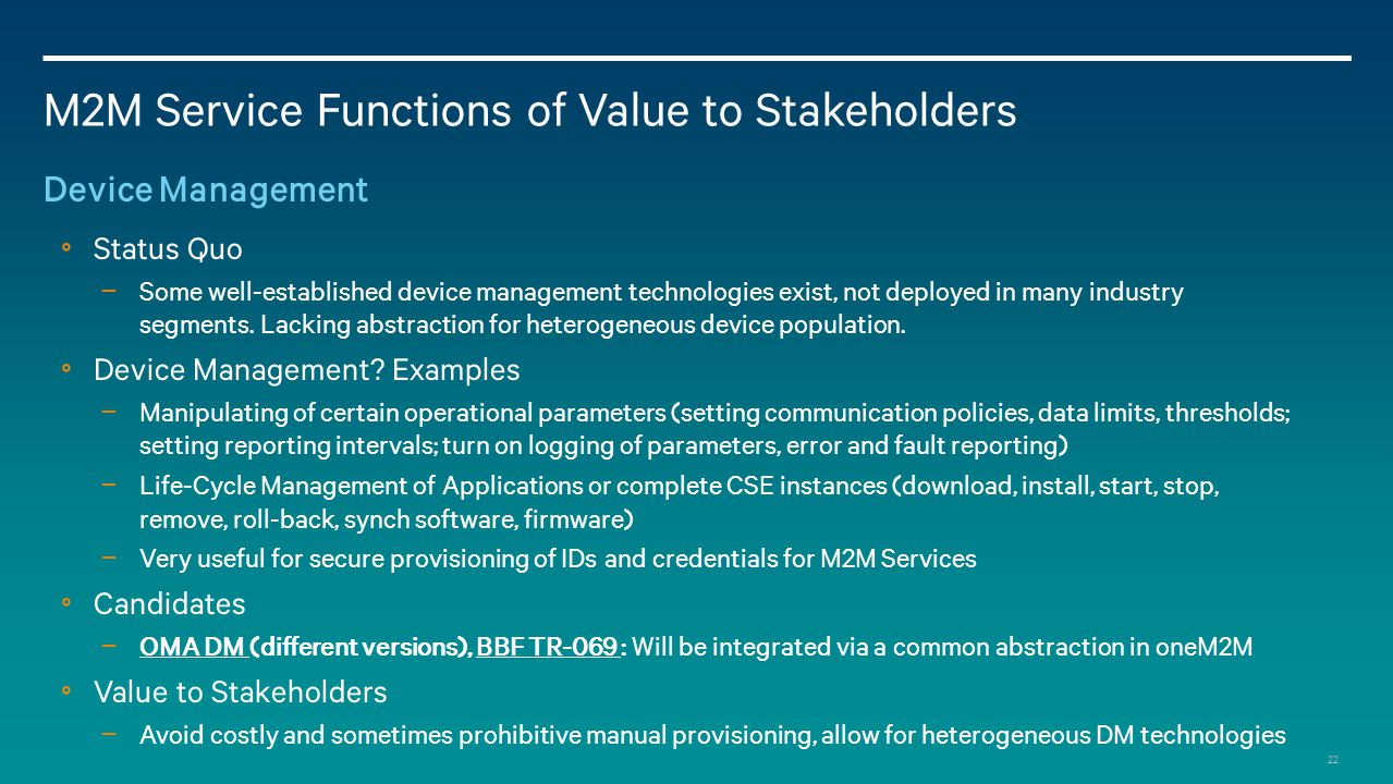 M2M Service Functions of Value to Stakeholders