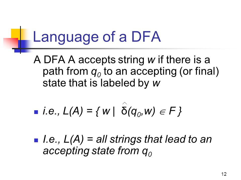 Cpt S 317: Spring 2009 Language of a DFA. A DFA A accepts string w if there is a path from q0 to an accepting (or final) state that is labeled by w.