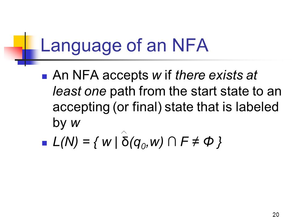 Cpt S 317: Spring 2009 Language of an NFA.