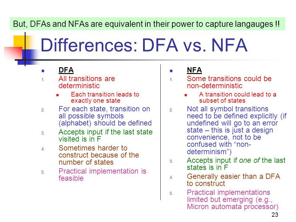 Differences: DFA vs. NFA
