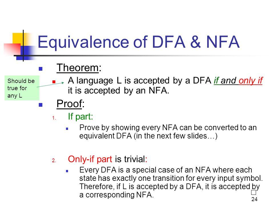 Equivalence of DFA & NFA