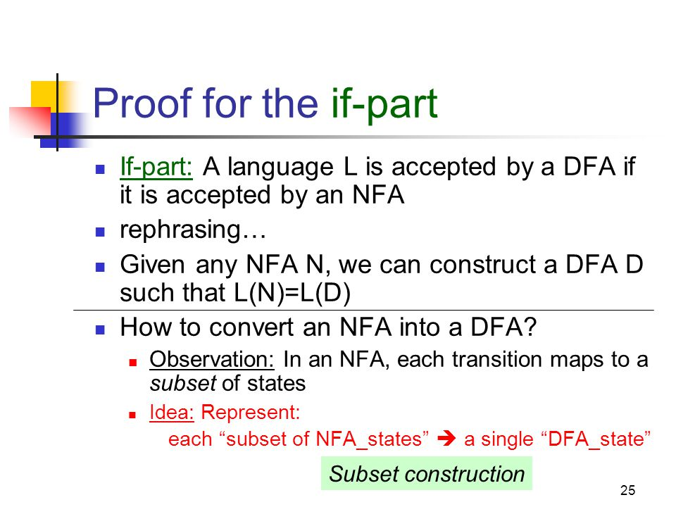 Cpt S 317: Spring 2009 Proof for the if-part. If-part: A language L is accepted by a DFA if it is accepted by an NFA.