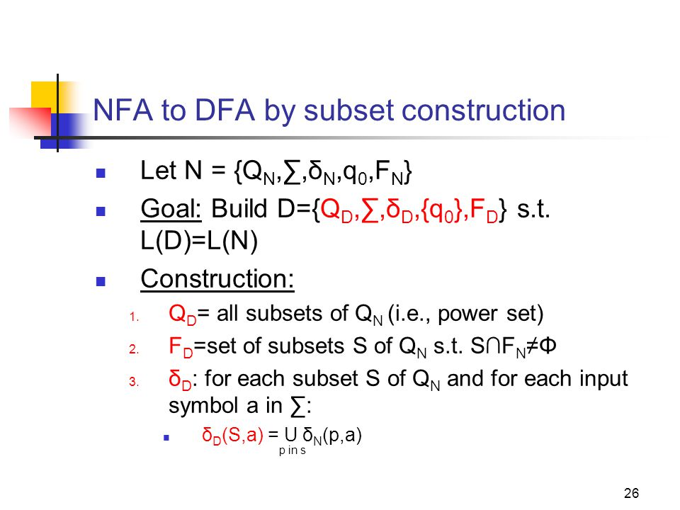 NFA to DFA by subset construction