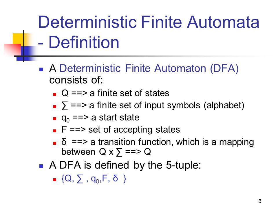 Deterministic Finite Automata - Definition