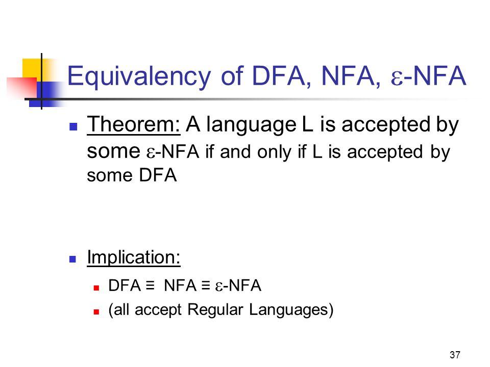 Equivalency of DFA, NFA, -NFA