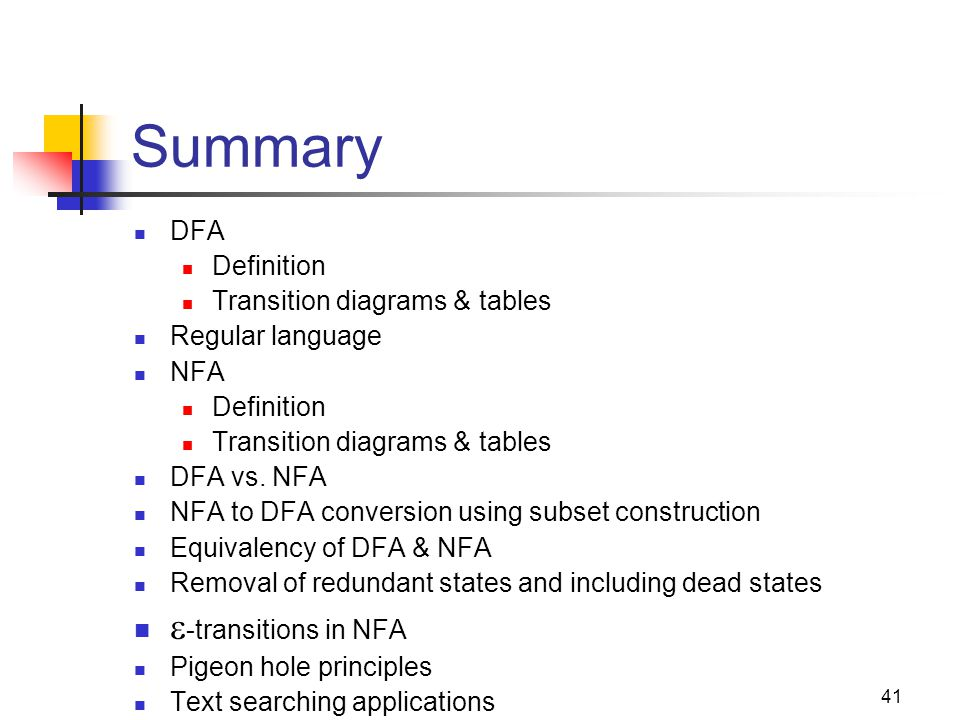 Summary -transitions in NFA DFA Definition