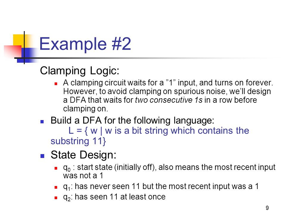Example #2 Clamping Logic: State Design: