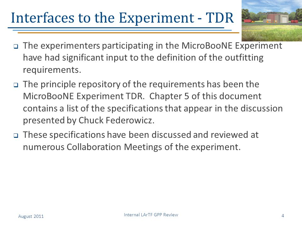 Interfaces to the Experiment - TDR