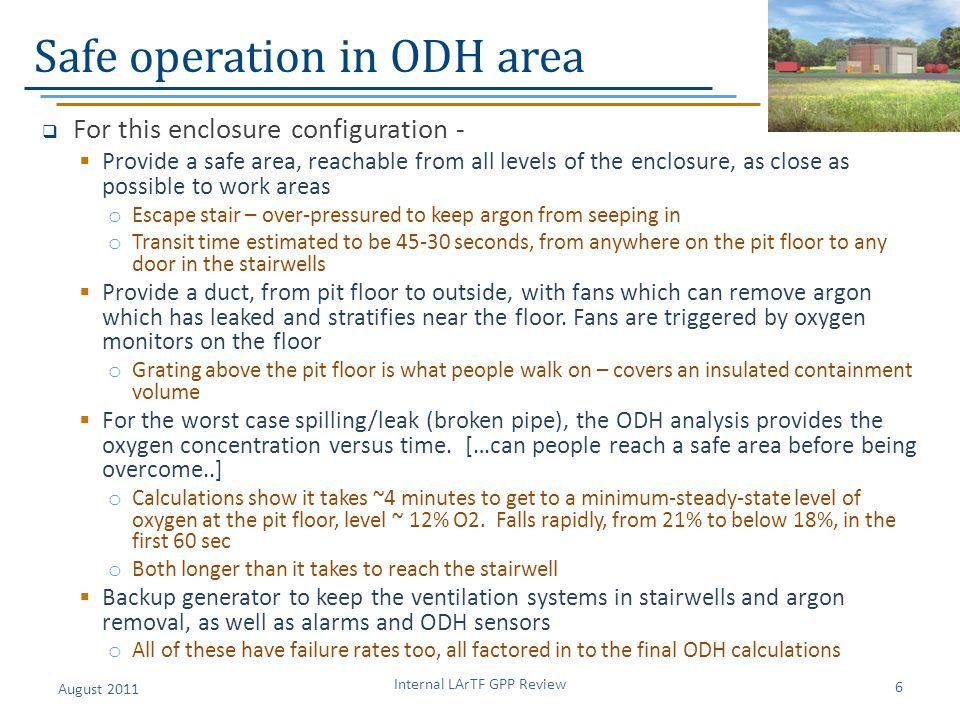 Safe operation in ODH area