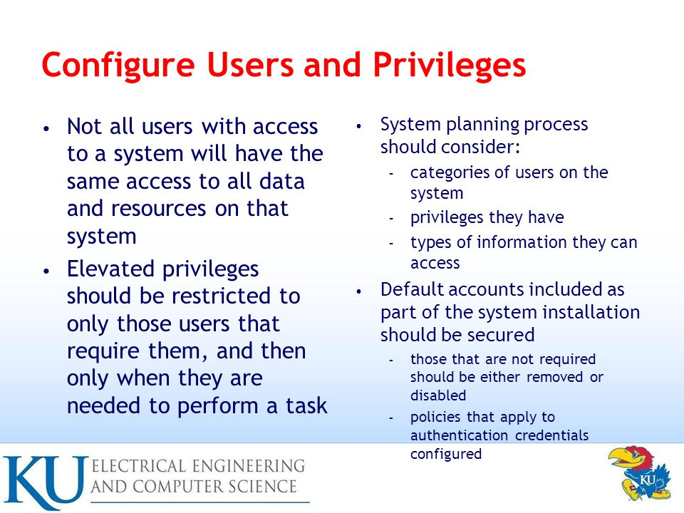 Configure Users and Privileges