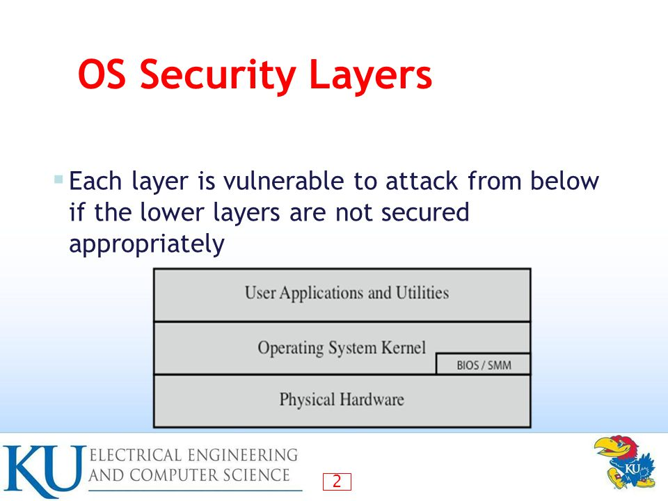OS Security Layers Each layer is vulnerable to attack from below if the lower layers are not secured appropriately.