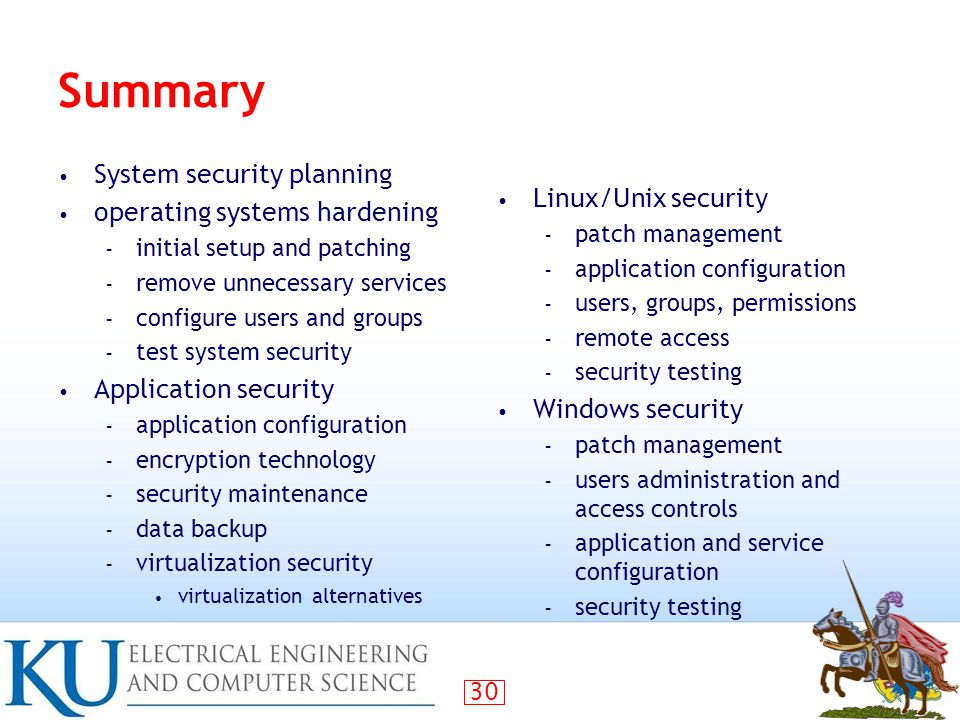 Summary System security planning Linux/Unix security