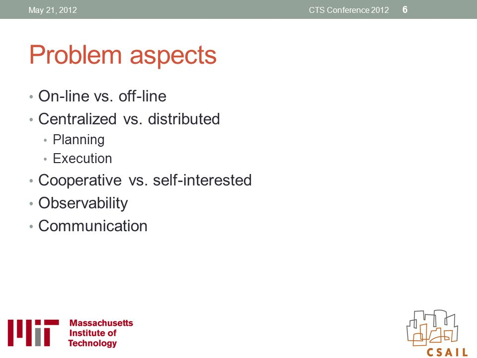 Problem aspects On-line vs. off-line Centralized vs. distributed