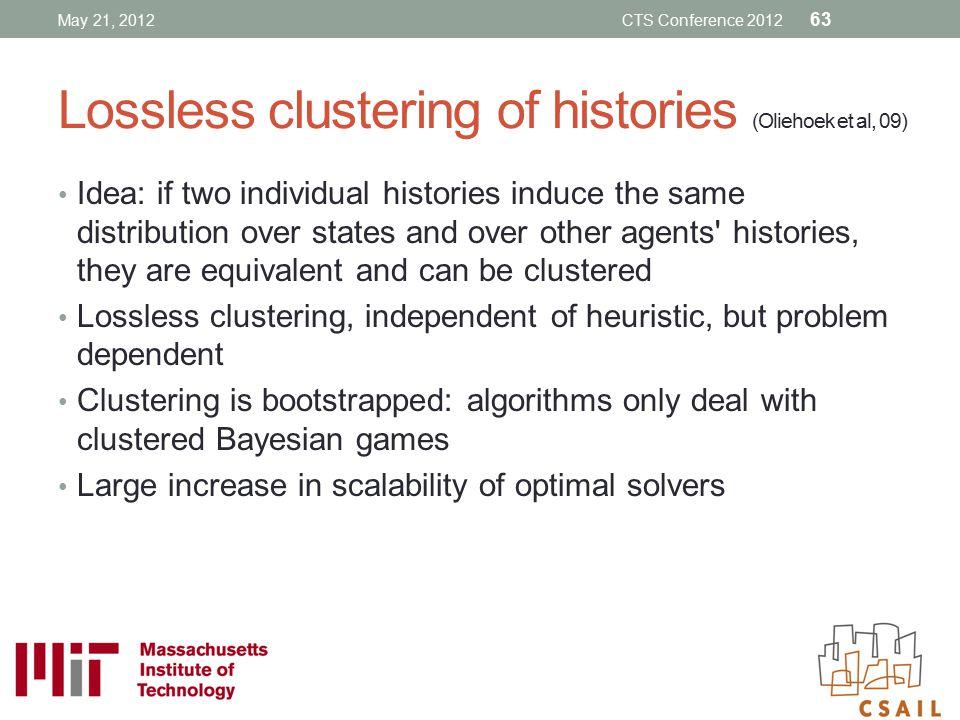 Lossless clustering of histories (Oliehoek et al, 09)