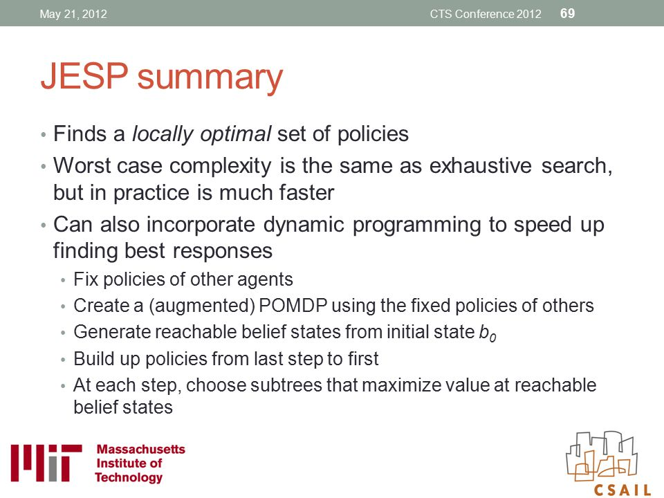 JESP summary Finds a locally optimal set of policies
