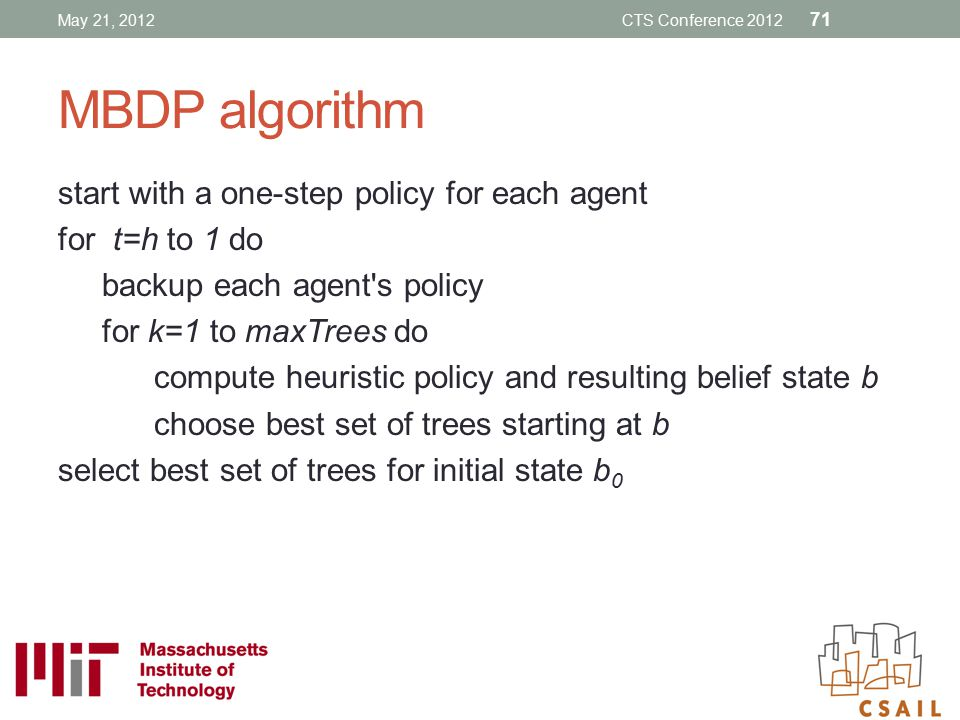 MBDP algorithm start with a one-step policy for each agent