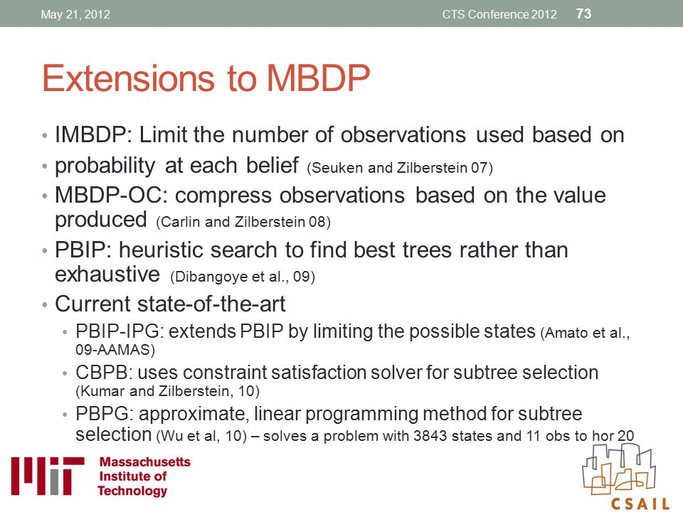 May 21, 2012 CTS Conference 2012. Extensions to MBDP. IMBDP: Limit the number of observations used based on.