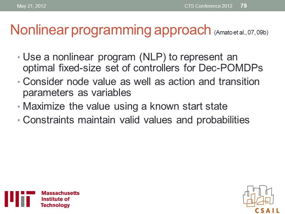 Nonlinear programming approach (Amato et al., 07, 09b)