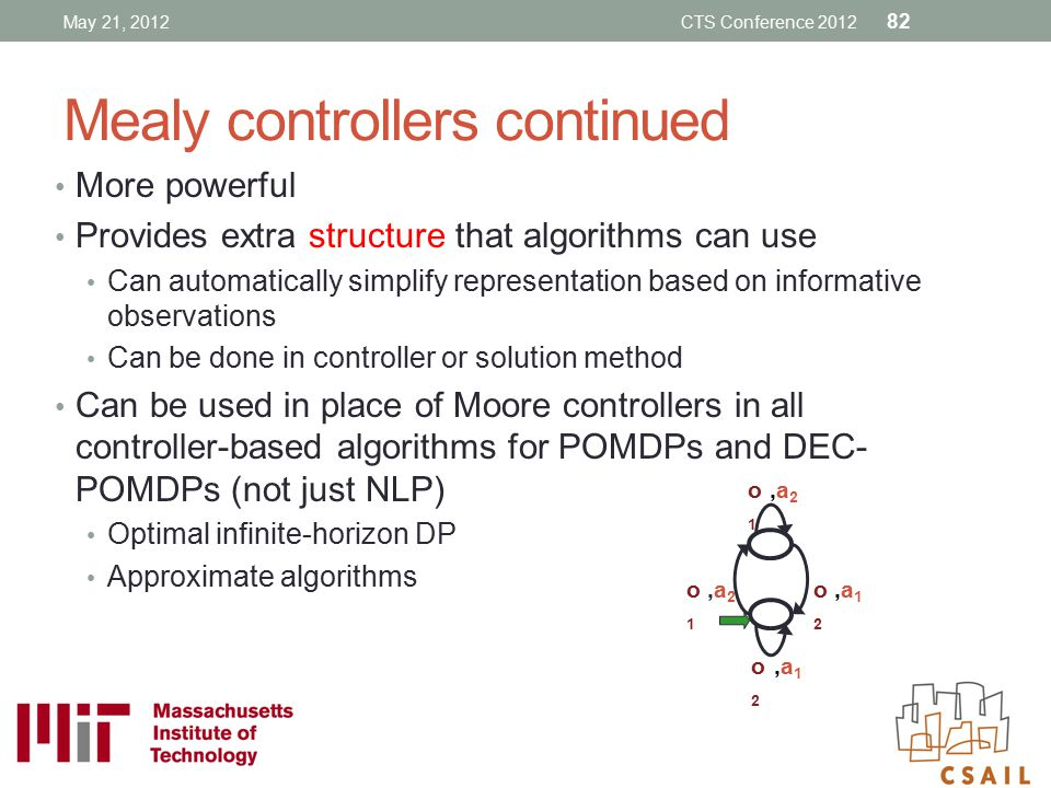 Mealy controllers continued