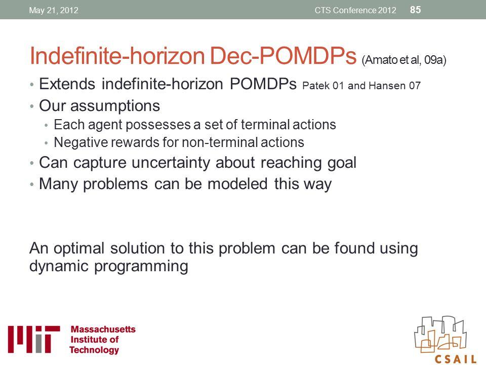 Indefinite-horizon Dec-POMDPs (Amato et al, 09a)