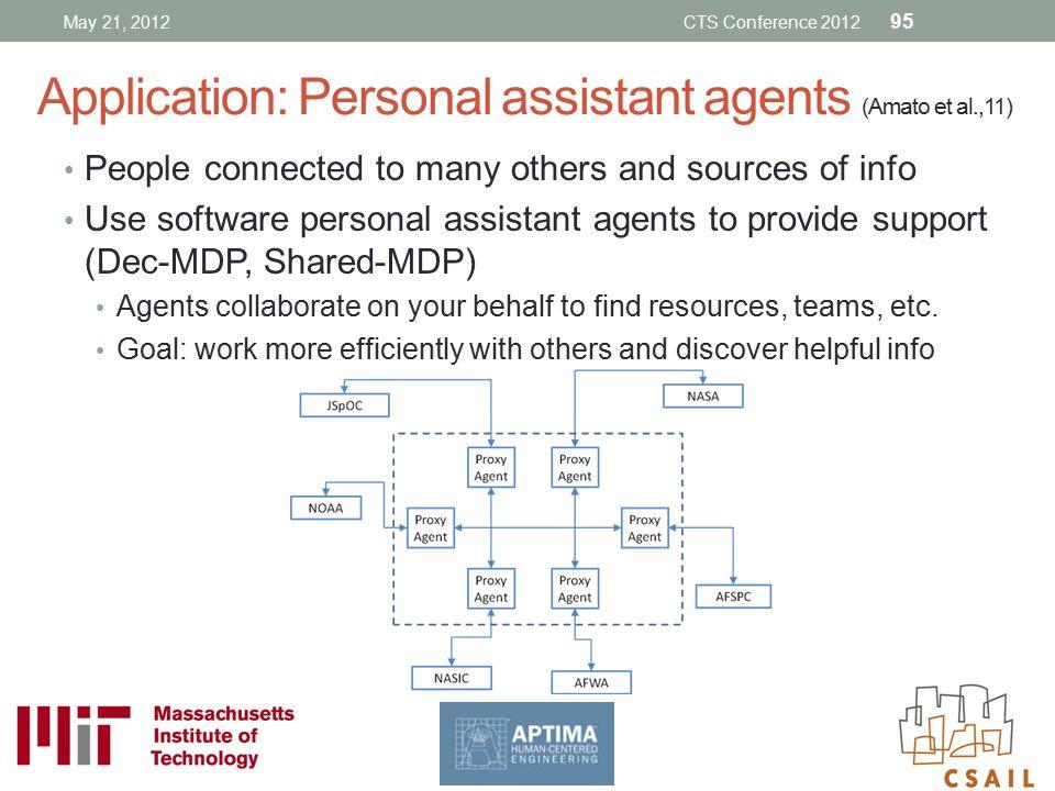 Application: Personal assistant agents (Amato et al.,11)