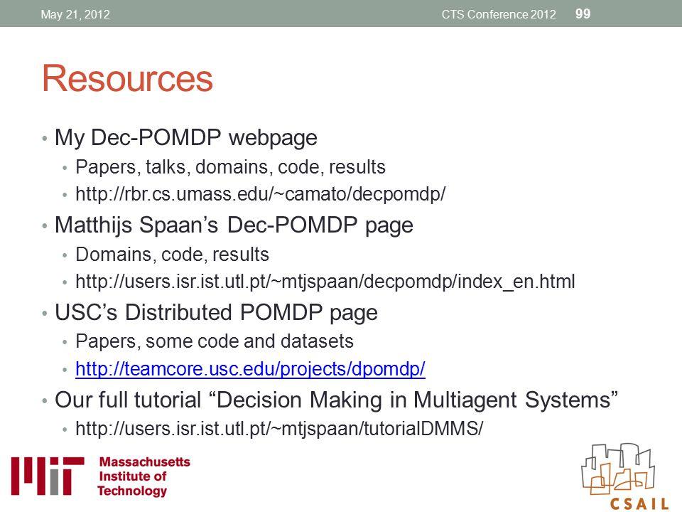 Resources My Dec-POMDP webpage Matthijs Spaan's Dec-POMDP page