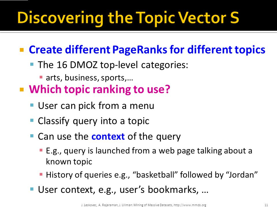 Discovering the Topic Vector S
