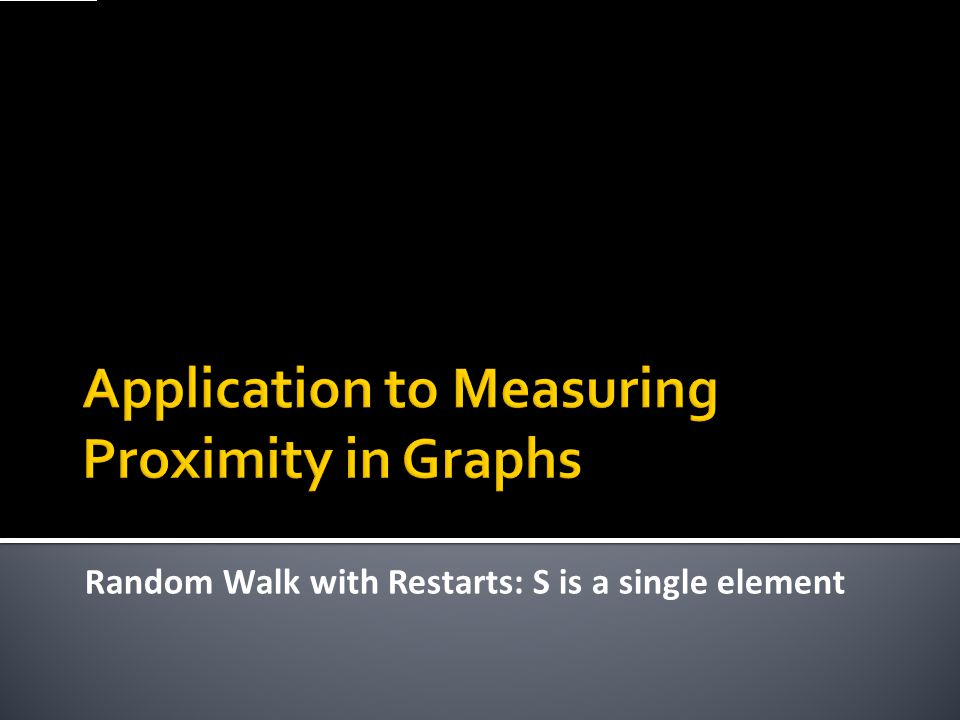 Application to Measuring Proximity in Graphs