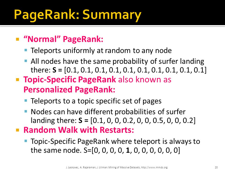 PageRank: Summary Normal PageRank: